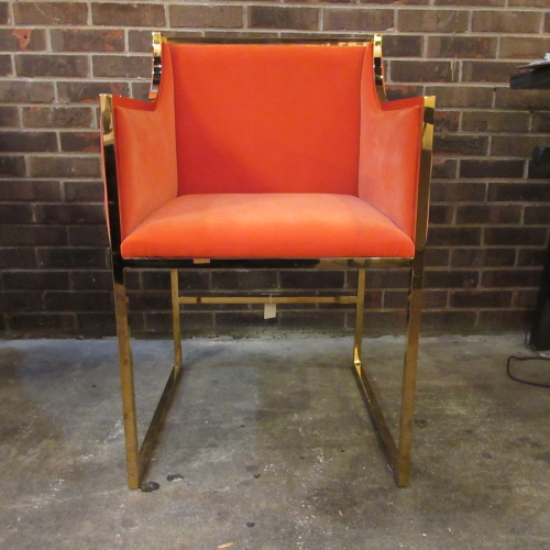 glam, palm beach, velvet, orange, glamorous, glam atlanta, accent chair, brass, high shine, designer, restoration hardware