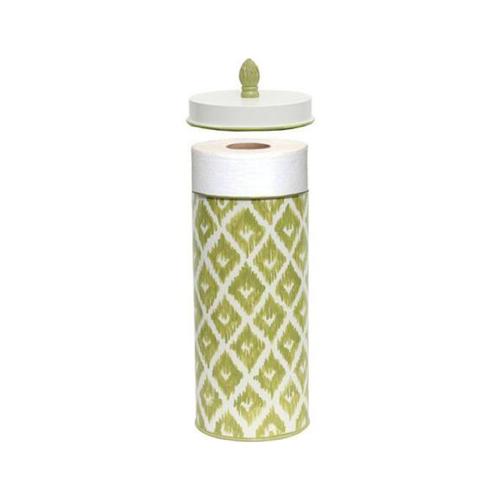 green_washed_indigo_pattern_on_white_wastebasket_and_tissue_box_set