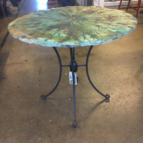 bistro table, concrete table, leaf table. imprinted leaf